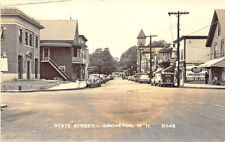 Groveton NH State Street Storefronts Old Cars RPPC Postcard
