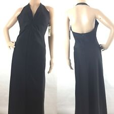 Laundry Shelli Segal 6 M Party Dress Long Gown Halter Open Back Black USA $250