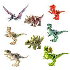 8 pcs ABS Dinos Toys SET Dinosaur Building Blocks Raptor T-Rex Trike Indominus