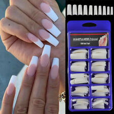 100Pcs Stiletto French Artificial Nails Acrylic Fake Nails Tips Manicure UV Gel