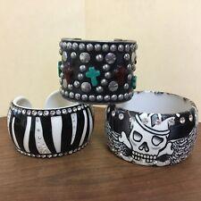 3 gorgeous chunky steampunk bracelets skulls, crosses, rhinestones zebra stripes