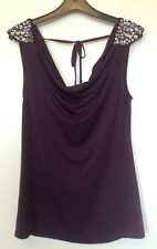 NEW LOOK PLUM SHOULDER DETAIL VEST SIZE 8 - BNWT