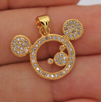 0.55Ct Round Diamond Mickey Mouse Neck Pendant 14K Yellow Gold Finish Free Chain