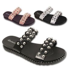 WOMEN LADIES STUDDED SLIDERS SLIPPERS SANDALS SHOES BEACH PARTY SUMMER MULES
