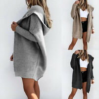 USA Women Chunky Knit Sweater Open Front Pocket Long Cardigan Coat Tops Jacket!