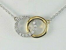 $1,300 Afarin 18K Yellow White Gold Diamond Circle Interlocking Pendant Necklace