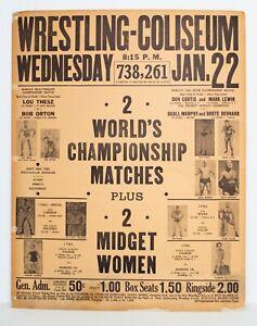 Vintage 1964 NWA Championship Wrestling From Florida Poster Thesz vs Orton