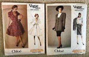 Vintage 1980s CHLOE Vogue Paris Original Sewing Pattern Dress Jacket Skirt LOT