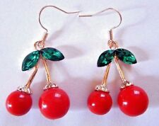 RED CHERRY EARRINGS kitschy retro rockabilly fruits cherry hook pop kawaii 6G