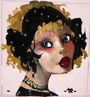 Original painting GIRL PORTRAIT marker gouache design home decor fine art Tania