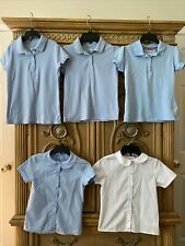 Lots Of Girls 5 Uniform French Toast And George Shirts Size 7-8 Blue/ White
