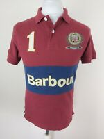 Mens Barbour Polo Rugby Shirt Red Big Spell Out Small 38 Chest