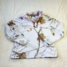 Realtree Womens sz L Pullover Fleece 1/4 Zip Jacket White Snow Camo w/ Pink A43