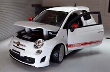 G Scale 1:24 Fiat 500 Abarth SS Esseesse Burago Diecast Model Car White Wheels