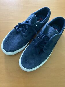NIKE Stefan Janoski SB Zoom Air Skate Black Leather & Blue Suede Size 8 New
