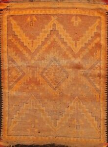 Antique Vegetable Dye Authentic Moroccan Oriental Area Rug Hand-knotted Wool 4x5