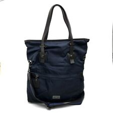 FURLA Tote Bag Shoulder Bag 2way bag Navy x Dark Brown Nylon x Leather