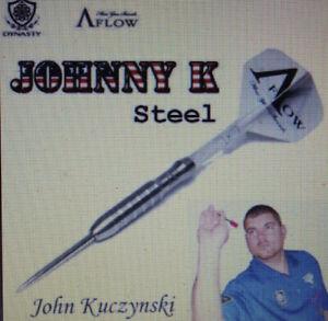 JOHNNY K, (JOHN KUCZYNSKI ), 95%TUNGSTEN, 23 GR STEEL TIP DARTS A-FLOW, DYNASTY