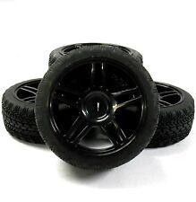 A20151 1/10 sur road souple bande de roulement voiture rc roues et pneus 5 twin spoke black x 4
