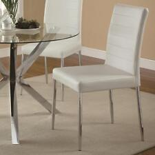Vance Contemporary White Vinyl Dining Side Chair by Coaster 120767WHT - Set of 2
