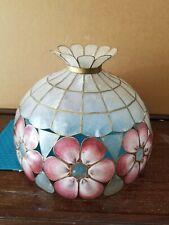 """Antique Vtg Boho Capiz Shell Lamp Shade Pink Ivory Tiffany Style 16"""" Mid Century"""