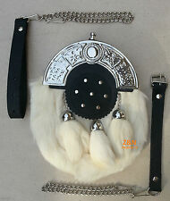 3 Tassels White Rabbit Fur Scottish Kilt Sporran, Free Leather & Metal Belt