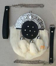 3 Tassels White Rabbit Fur Scottish Kilt Sporran, Free Leather & Metal Belt