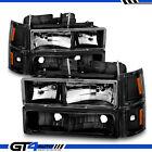 94-2000 Chevy C/K 1500 2500 3500 Pickup Black Corner Parking Headlights Set