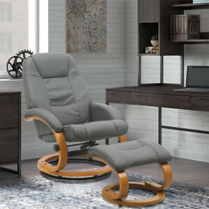 Grey PU Leather Armchair Swivel Recliner Sofa Executive Office Chair w/ Footrest