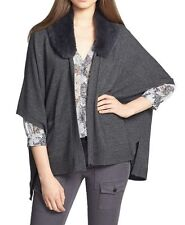 NEW Joie Fur-Collar Open-Front Cardigan Sweater- Grey size M  $448
