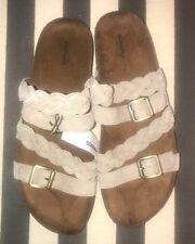 Sonoma Women Clarissa Taupe Leather Slide Sandals Braided Buckle Comfort Sz 10