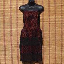 Strapless Pencil Papaya Occasion Evening Black and Red Dress With Pockets UK 16