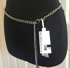 BCBG GENERATION Womens Belt Chain Link Silver Leather Tassel M/L NWT