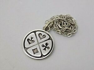 """Sterling 925 Silver Playing Cards Good Luck """"Lucky"""" Pendant on 16 Inch chain."""
