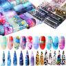 10Sheets Colorful Nagel Folie Ink Flowers Transfer Aufkleber Nail Art Dekors