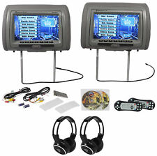 "Rockville Rvd951-gr 9"" Grey Dual Dvd/hdmi Car Headrest Monitors 2 Headphones"