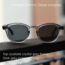 Vintage black polarized sunglasses mens johnny depp crystal gray glasses UV400