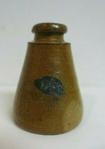 Civil War Era Antique Glazed Pottery Cone Inkwell with Blue Excellent Condition