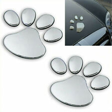 3D Paw Print Car Decal Stickers in Silver Chrome - 1 set of two paw prints