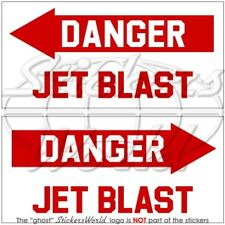 DANGER JET BLAST Aircraft-Helicopter 100mm Stickers x2
