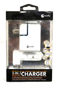 1 Pk MACALLY 3 IN 1 CHARGER USB AC CAR WALL CHARGER & BATTERY PACK IPHONE IPOD