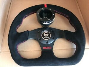 Suede Steering Wheel Battle D Shape+ Black Hub Polaris RZR 800/900/1000 CanAm X3
