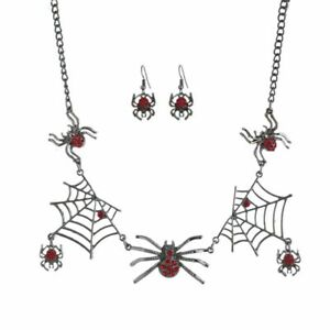 Alloy Halloween Spider Spider web Necklace Earrings Popular Fashion Jewelry Set