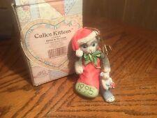 """Calico Kittens Figurine """"Kitten In Stocking"""" Christmas Ornament- 1995 Enesco"""