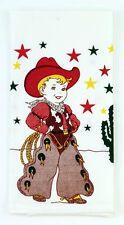 Cowboy Tea Towel Dish Cloth 50s Rockabilly PinUp Vintage Western Chaps Cactus