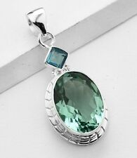APATITE & BLUE TOPAZ STONE 925 STERLING SILVER NECKLACE PENDANT Length 1 3/4
