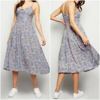 New Look Ladies Lilac Floral Print Summer Holiday Dress Size 10 ,12