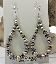 Native American Navajo Earrings Sterling Silver Navajo Pearl  Wampum Earrings