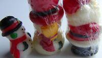 "Christmas Character Candles: Santa & Snowman New Aprox. 3 1/2"" Tall Plus Bonus"