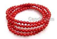 """5-6mm Round Natural Red Coral Bracelet / Necklace for Women Jewelry 30"""" bra298"""